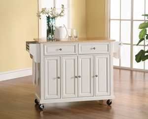 Natural Wood Top Kitchen Cart/Island in White Finish - Crosley Furniture - KF30001EWH