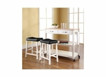"Natural Wood Top Kitchen Cart / Island in White With 24"" Saddle Stools - CROSLEY-KF300514WH"