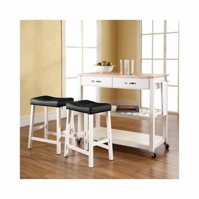 Natural Wood Top Kitchen Cart / Island in White With 24