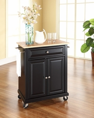 Natural Wood Top Portable Kitchen Cart/Island in Black - CROSLEY-KF30021EBK