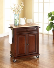 Natural Wood Top Portable Kitchen Cart/Island in Vintage Mahogany - CROSLEY-KF30021EMA