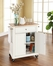 Natural Wood Top Portable Kitchen Cart/Island in White - CROSLEY-KF30021EWH