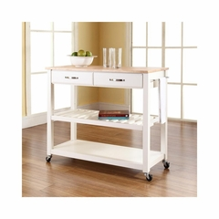 Natural Wood Top White Kitchen Cart / Island With Optional Stool Storage - CROSLEY-KF30051WH