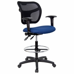 Navy Blue Fabric and Mesh Drafting Stool with Arms - WL-A7671SYG-NVY-AD-GG