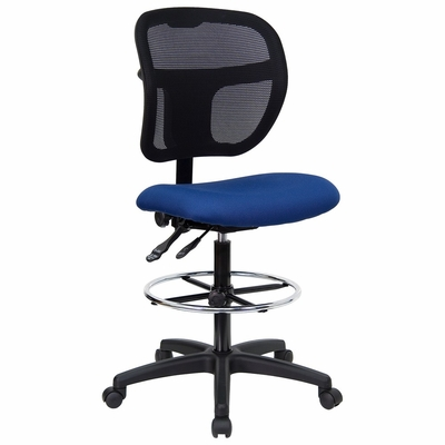 Navy Blue Fabric and Mesh Drafting Stool - WL-A7671SYG-NVY-D-GG