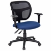 Navy Blue Fabric and Mesh Task Chair with Arms - WL-A7671SYG-NVY-A-GG