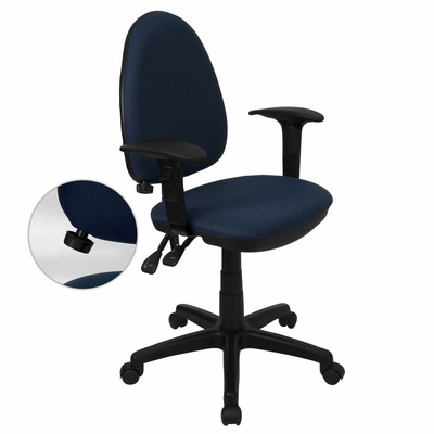 Navy Blue Fabric Multi-Function Task Chair with Adjustable Lumbar Support, Arms - WL-A654MG-NVY-A-GG