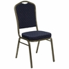 Navy Blue Patterned Crown Back HERCULES Banquet Chair - Gold Vein Frame - FD-C01-GOLDVEIN-S0810-GG