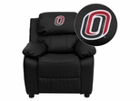 Nebraska at Omaha Mavericks Embroidered Black Leather Kids Recliner - BT-7985-KID-BK-LEA-41089-EMB-GG