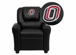 Nebraska at Omaha Mavericks Embroidered Black Vinyl Kids Recliner - DG-ULT-KID-BK-41089-EMB-GG