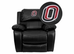 Nebraska at Omaha Mavericks Leather Rocker Recliner - MEN-DA3439-91-BK-41089-EMB-GG