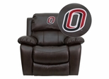 Nebraska at Omaha Mavericks Leather Rocker Recliner - MEN-DA3439-91-BRN-41089-EMB-GG