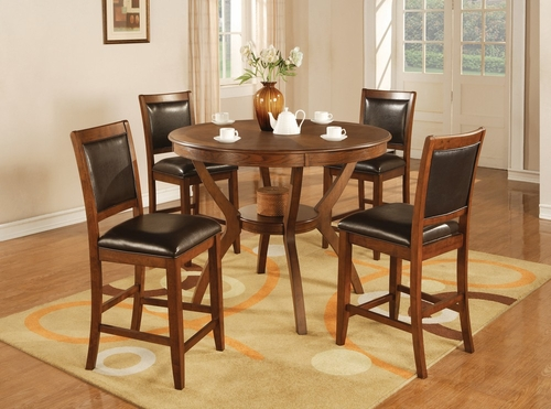 Nelms 5-Piece Counter Height Table Set in Brown Walnut - Coaster - 102178-9-DSET