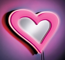 Neon Heart Wall Mirror Pink - LumiSource - WB-NWM-HRT-PK
