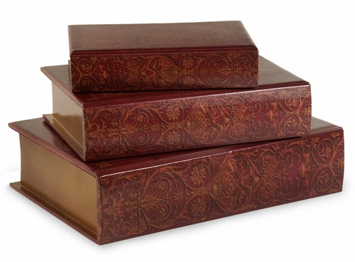 Nesting Wooden Book Boxes (Set of 3) - IMAX - 13108-3