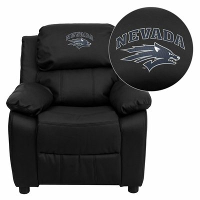 Nevada Wolfpack Embroidered Black Leather Kids Recliner - BT-7985-KID-BK-LEA-40026-EMB-GG