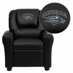 Nevada Wolfpack Embroidered Black Vinyl Kids Recliner - DG-ULT-KID-BK-40026-EMB-GG