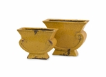Neville Yellow Distressed Planters (Set of 2) - IMAX - 40144-2