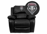 New Mexico Lobos Black Leather Rocker Recliner - MEN-DA3439-91-BK-40019-EMB-GG