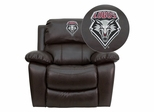 New Mexico Lobos Brown Leather Rocker Recliner - MEN-DA3439-91-BRN-40019-EMB-GG