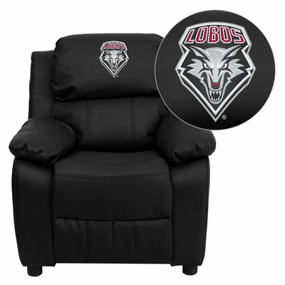 New Mexico Lobos Embroidered Black Leather Kids Recliner - BT-7985-KID-BK-LEA-40019-EMB-GG