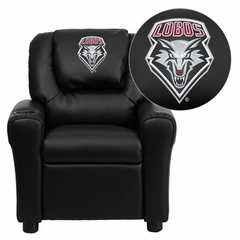 New Mexico Lobos Embroidered Black Vinyl Kids Recliner - DG-ULT-KID-BK-40019-EMB-GG
