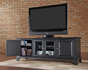 "Newport 60"" Low Profile TV Stand in Black - CROSLEY-KF10005CBK"