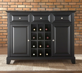 Newport Buffet Server / Sideboard Cabinet with Wine Storage in Black Finish - Crosley Furniture - KF42001CBK