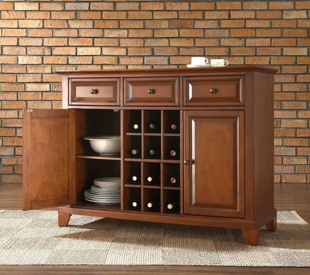 Newport Buffet Server / Sideboard Cabinet with Wine Storage in Classic Cherry Finish - Crosley Furniture - KF42001CCH