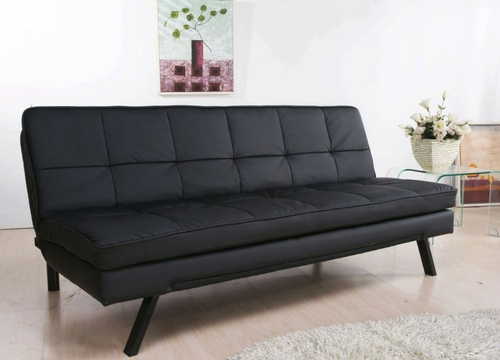 Newport Double Cushion Leather Convertible Sofa in Black - Abbyson Living - AD-150L-BLK