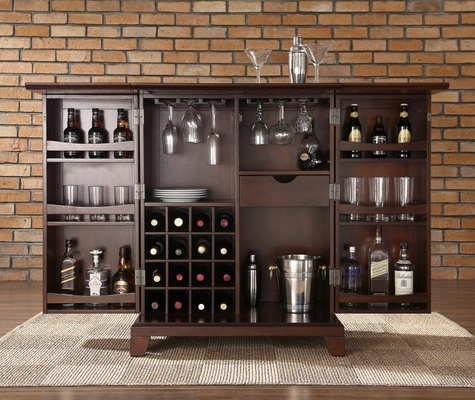 Newport Expandable Bar Cabinet in Vintage Mahogany Finish - Crosley Furniture - KF40001CMA