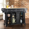 Newport Natural Wood Top Kitchen Island in Black Finish - Crosley Furniture - KF30001CBK