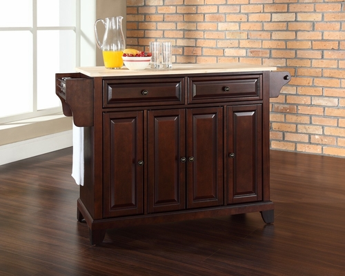 Newport Natural Wood Top Kitchen Island in Vintage Mahogany - CROSLEY-KF30001CMA