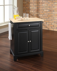 Newport Natural Wood Top Portable Kitchen Island in Black - CROSLEY-KF30021CBK