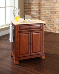 Newport Natural Wood Top Portable Kitchen Island in Classic Cherry - CROSLEY-KF30021CCH