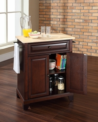 Newport Natural Wood Top Portable Kitchen Island in Vintage Mahogany - CROSLEY-KF30021CMA