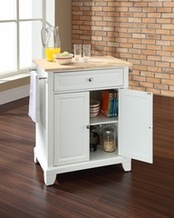 Newport Natural Wood Top Portable Kitchen Island in White - CROSLEY-KF30021CWH