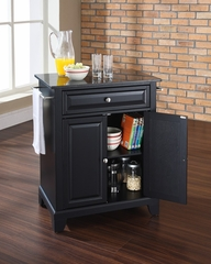 Newport Solid Black Granite Top Portable Kitchen Island in Black - CROSLEY-KF30024CBK