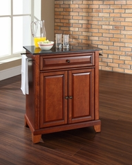 Newport Solid Black Granite Top Portable Kitchen Island in Classic Cherry - CROSLEY-KF30024CCH
