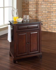 Newport Solid Black Granite Top Portable Kitchen Island in Vintage Mahogany - CROSLEY-KF30024CMA