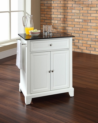 Newport Solid Black Granite Top Portable Kitchen Island in White - CROSLEY-KF30024CWH
