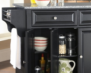 Newport Solid Granite Top Kitchen Island in Black Finish - Crosley Furniture - KF30003CBK