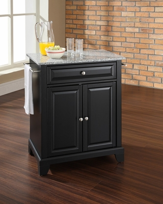 Newport Solid Granite Top Portable Kitchen Island in Black - CROSLEY-KF30023CBK