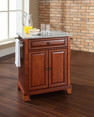 Newport Solid Granite Top Portable Kitchen Island in Classic Cherry - CROSLEY-KF30023CCH