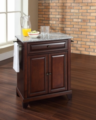 Newport Solid Granite Top Portable Kitchen Island in Vintage Mahogany - CROSLEY-KF30023CMA