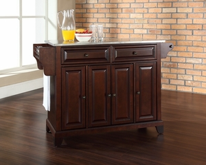 Newport Stainless Steel Top Kitchen Island in Vintage Mahogany - CROSLEY-KF30002CMA