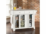 Newport Stainless Steel Top Kitchen Island in White Finish - Crosley Furniture - KF30002CWH