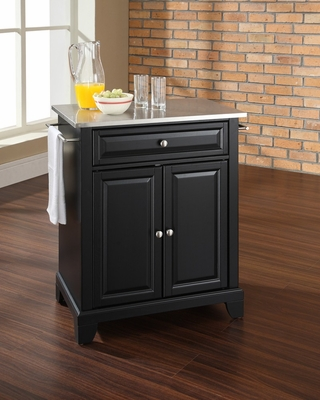 Newport Stainless Steel Top Portable Kitchen Island in Black - CROSLEY-KF30022CBK