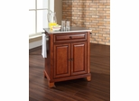 Newport Stainless Steel Top Portable Kitchen Island in Classic Cherry - CROSLEY-KF30022CCH