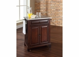 Newport Stainless Steel Top Portable Kitchen Island in Vintage Mahogany - CROSLEY-KF30022CMA
